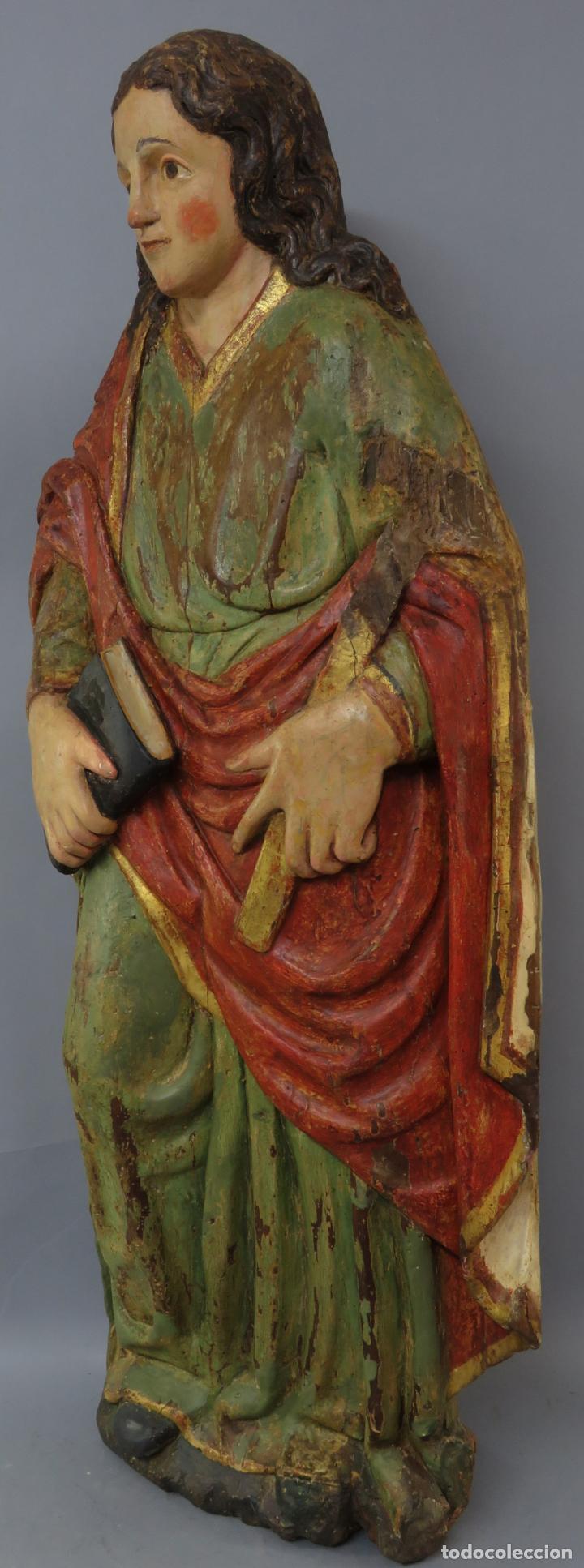 Arte: Talla de medio bulto o chuleta San Juan Evangelista madera tallada dorada y policromada XVI XVII - Foto 13 - 221922775