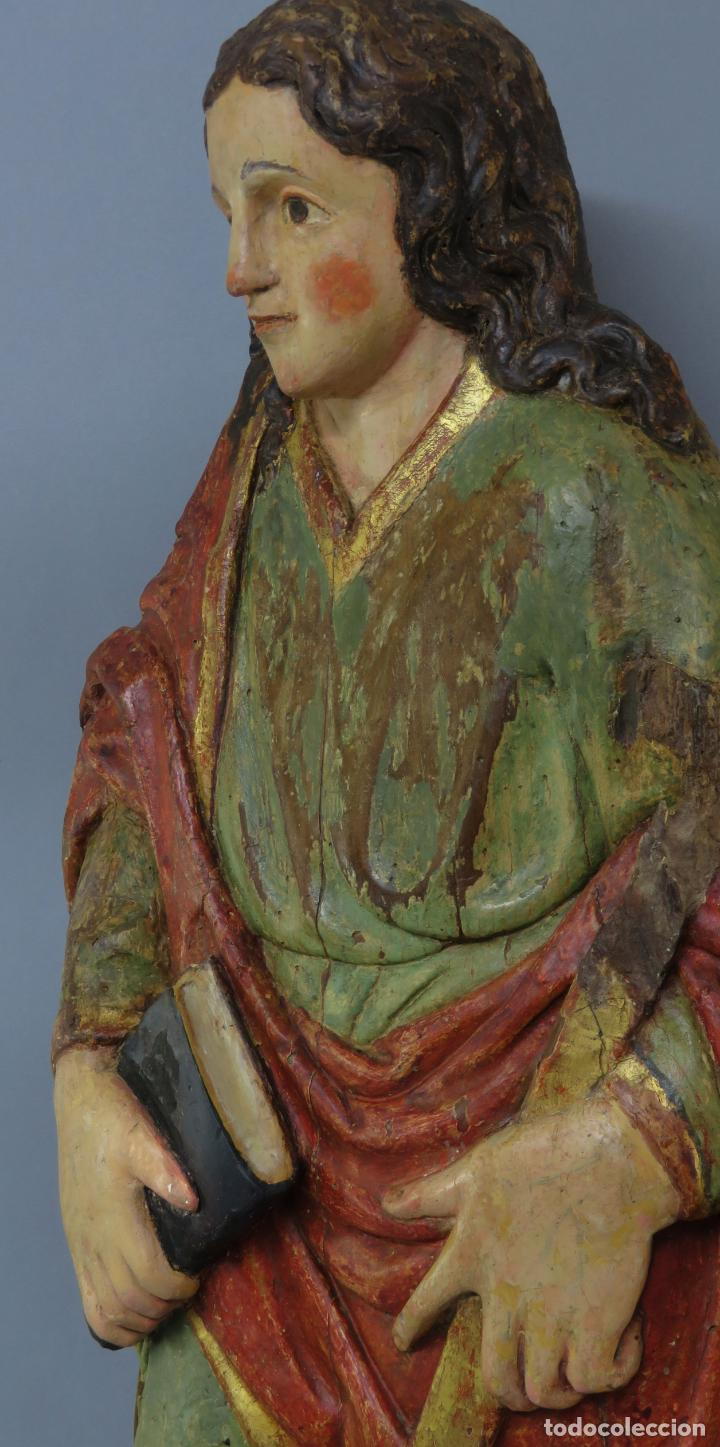 Arte: Talla de medio bulto o chuleta San Juan Evangelista madera tallada dorada y policromada XVI XVII - Foto 14 - 221922775