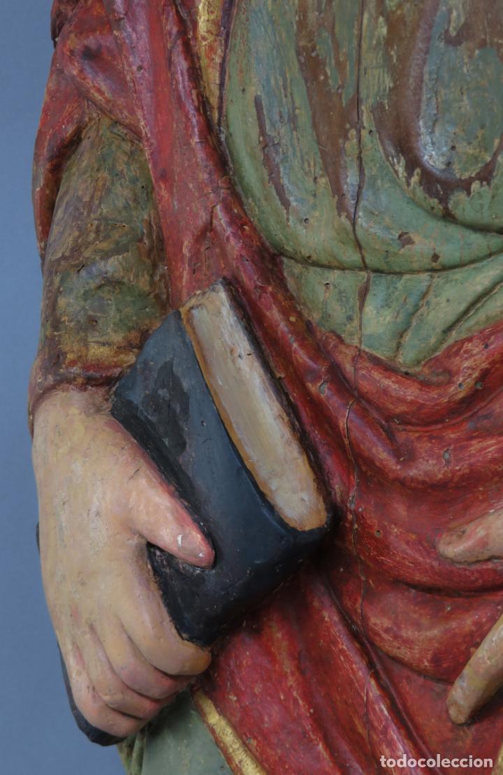 Arte: Talla de medio bulto o chuleta San Juan Evangelista madera tallada dorada y policromada XVI XVII - Foto 17 - 221922775