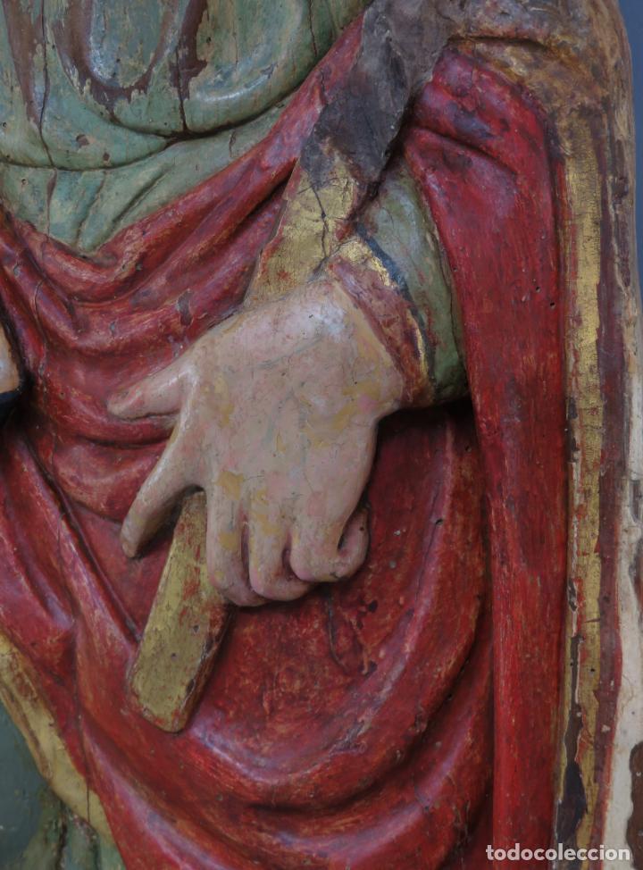 Arte: Talla de medio bulto o chuleta San Juan Evangelista madera tallada dorada y policromada XVI XVII - Foto 18 - 221922775