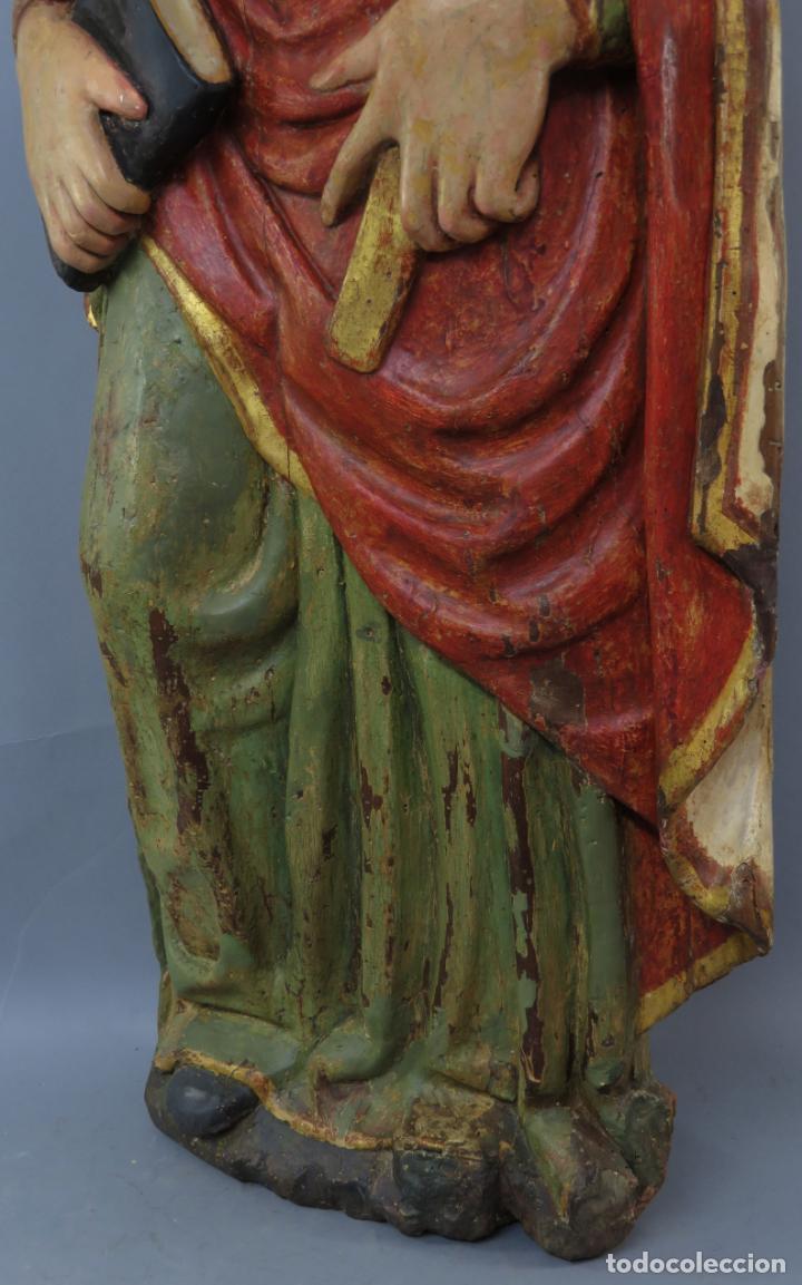 Arte: Talla de medio bulto o chuleta San Juan Evangelista madera tallada dorada y policromada XVI XVII - Foto 19 - 221922775
