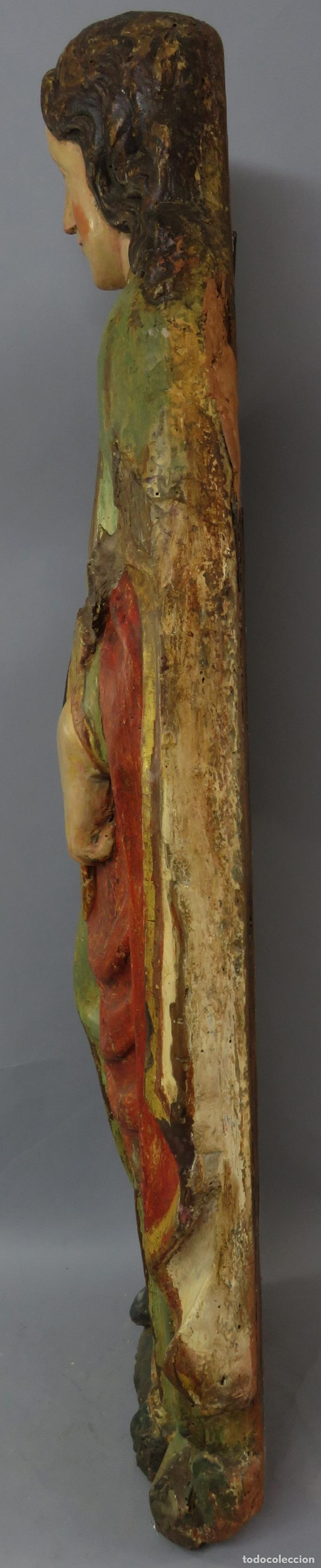 Arte: Talla de medio bulto o chuleta San Juan Evangelista madera tallada dorada y policromada XVI XVII - Foto 20 - 221922775