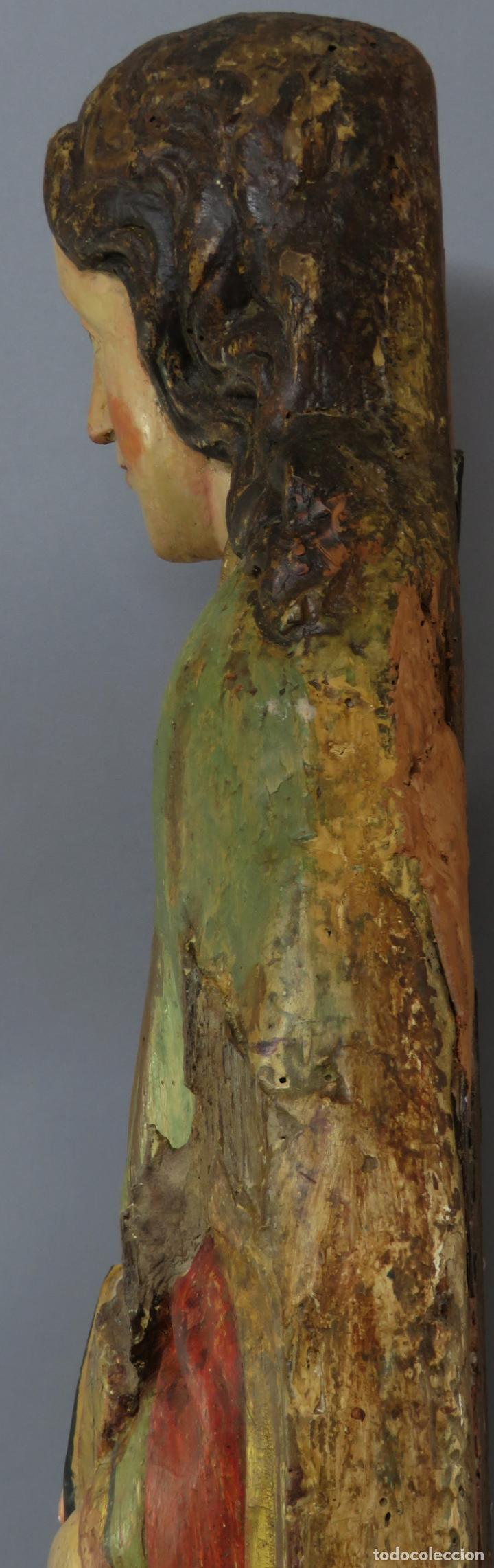 Arte: Talla de medio bulto o chuleta San Juan Evangelista madera tallada dorada y policromada XVI XVII - Foto 21 - 221922775