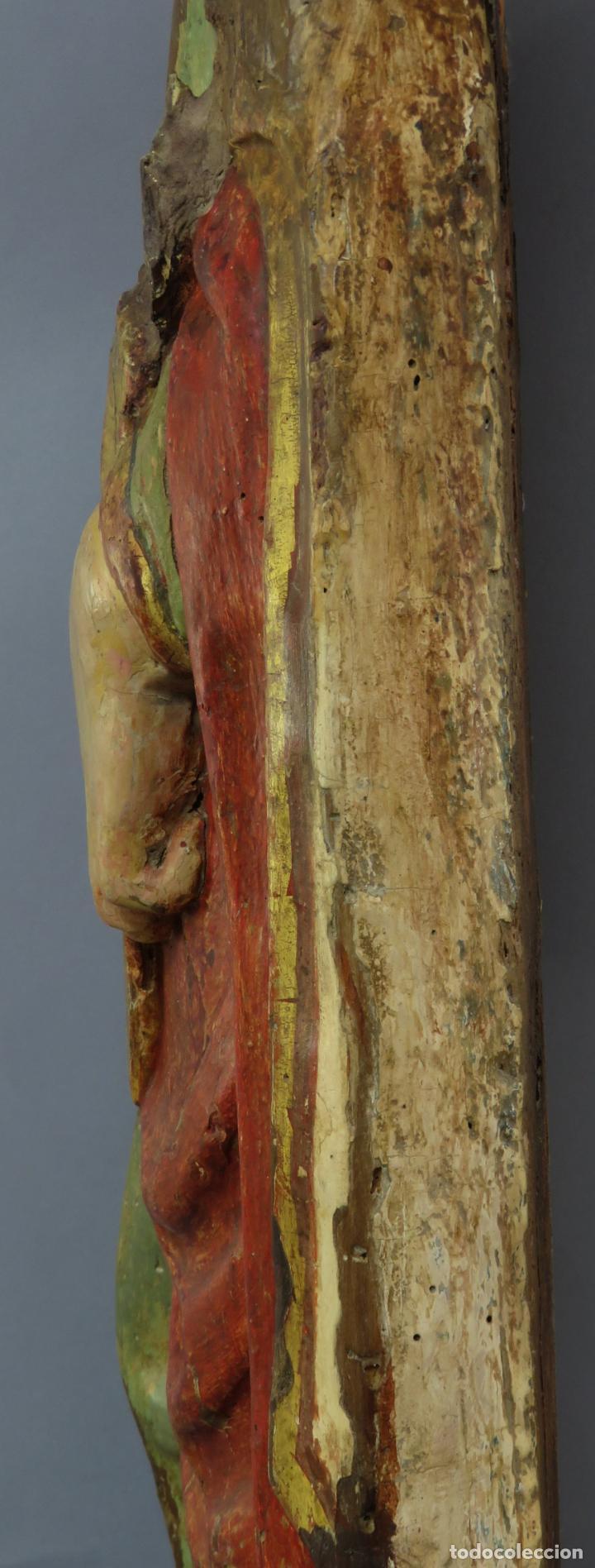 Arte: Talla de medio bulto o chuleta San Juan Evangelista madera tallada dorada y policromada XVI XVII - Foto 22 - 221922775