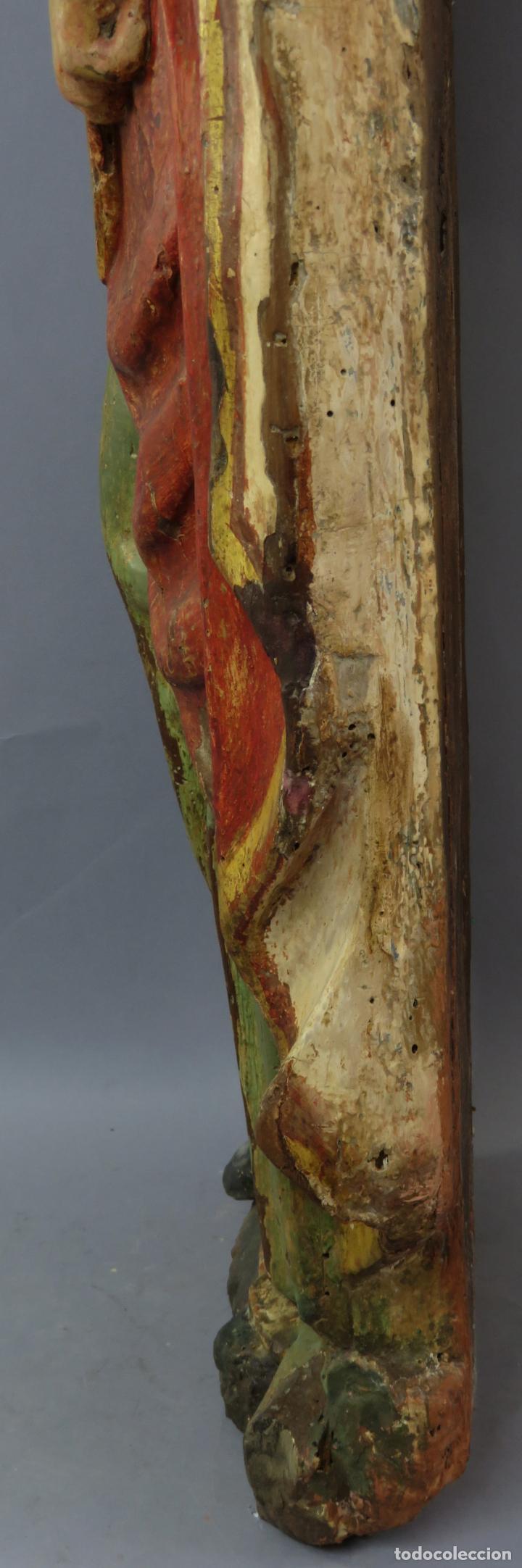 Arte: Talla de medio bulto o chuleta San Juan Evangelista madera tallada dorada y policromada XVI XVII - Foto 23 - 221922775