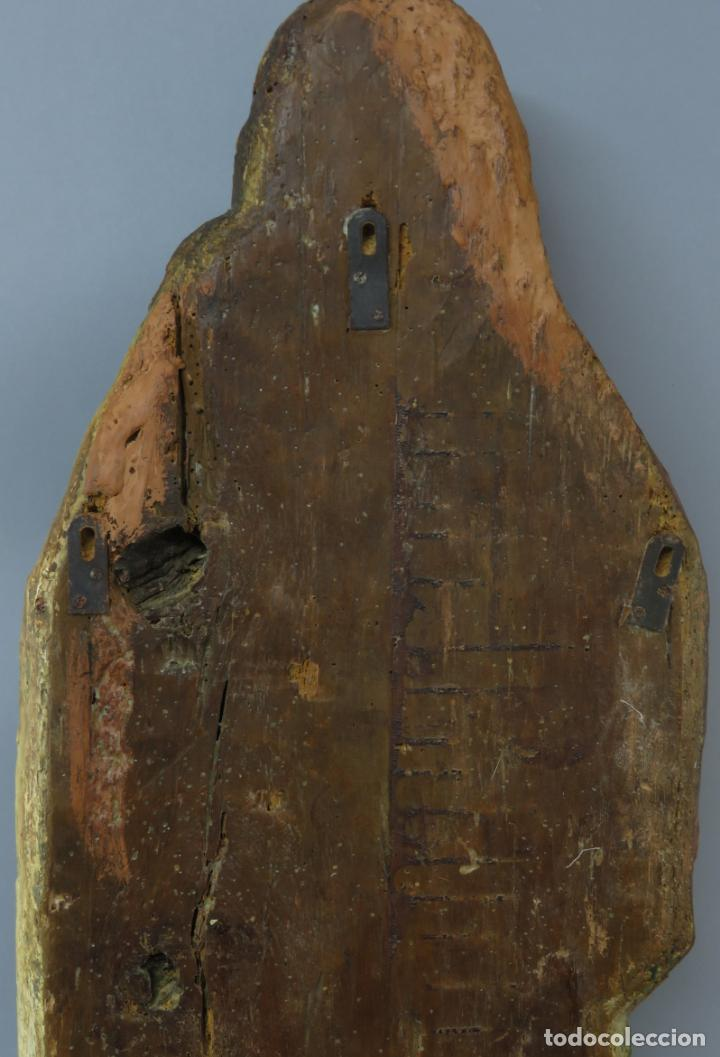 Arte: Talla de medio bulto o chuleta San Juan Evangelista madera tallada dorada y policromada XVI XVII - Foto 25 - 221922775