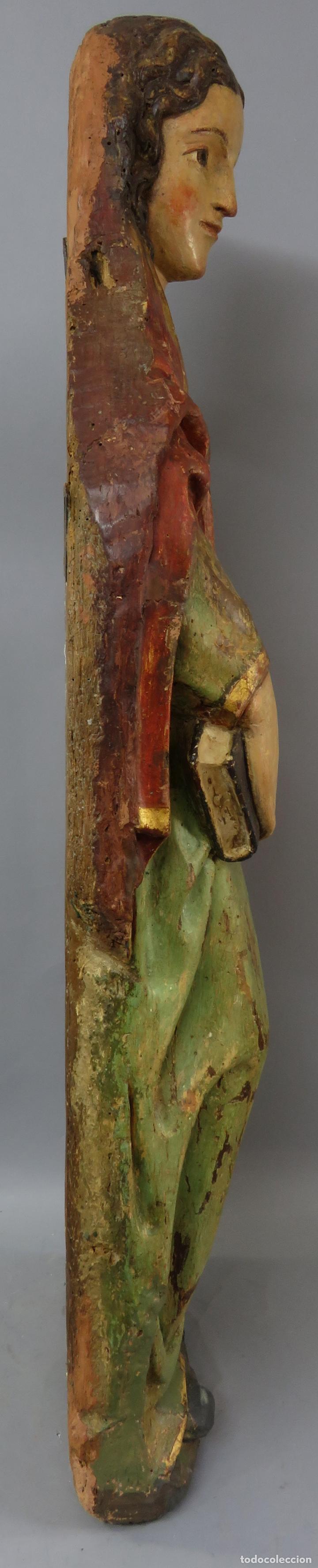 Arte: Talla de medio bulto o chuleta San Juan Evangelista madera tallada dorada y policromada XVI XVII - Foto 31 - 221922775