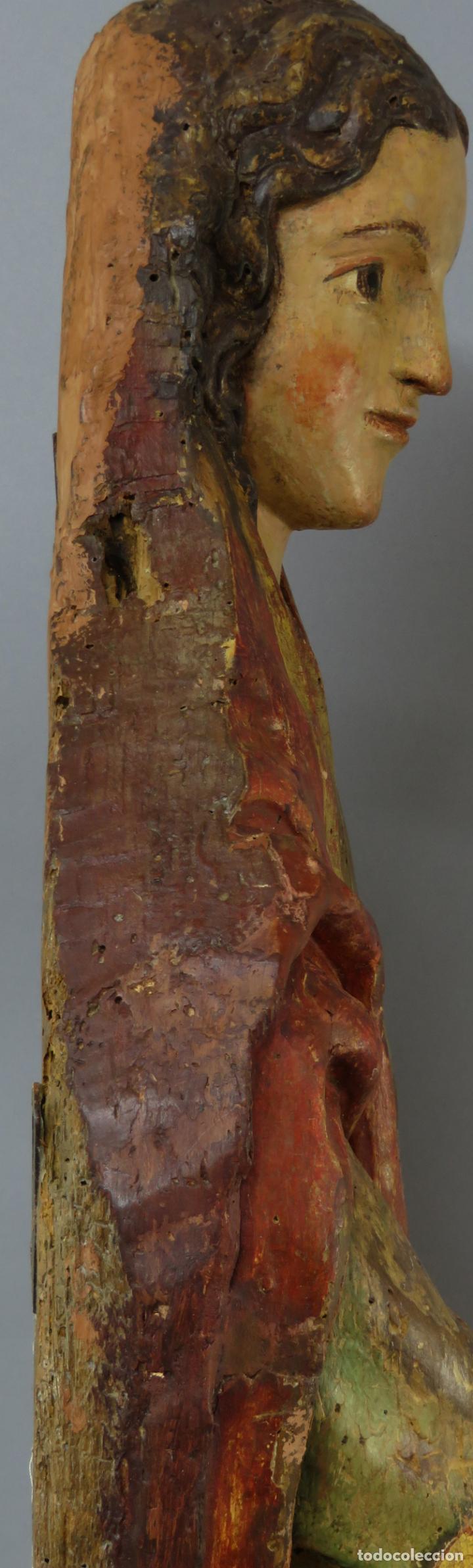 Arte: Talla de medio bulto o chuleta San Juan Evangelista madera tallada dorada y policromada XVI XVII - Foto 32 - 221922775