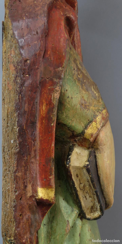 Arte: Talla de medio bulto o chuleta San Juan Evangelista madera tallada dorada y policromada XVI XVII - Foto 33 - 221922775