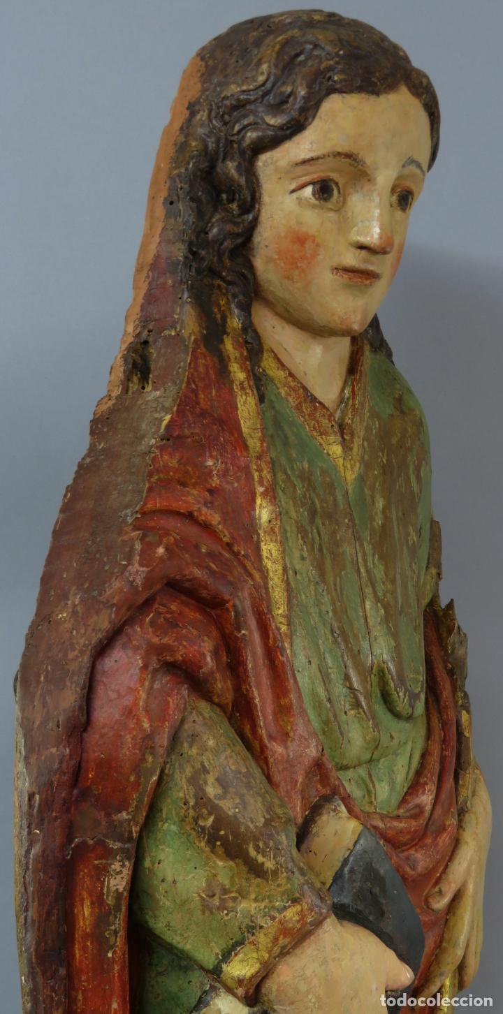 Arte: Talla de medio bulto o chuleta San Juan Evangelista madera tallada dorada y policromada XVI XVII - Foto 35 - 221922775