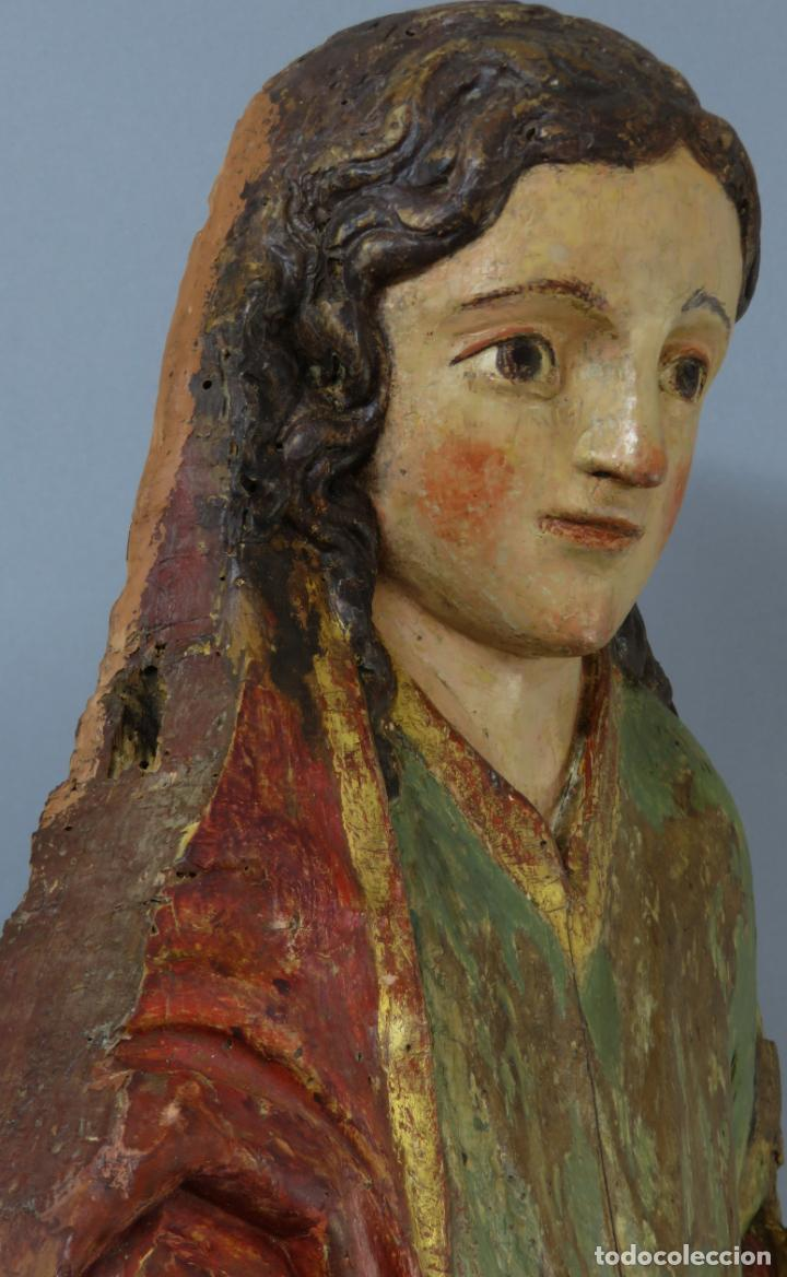 Arte: Talla de medio bulto o chuleta San Juan Evangelista madera tallada dorada y policromada XVI XVII - Foto 36 - 221922775
