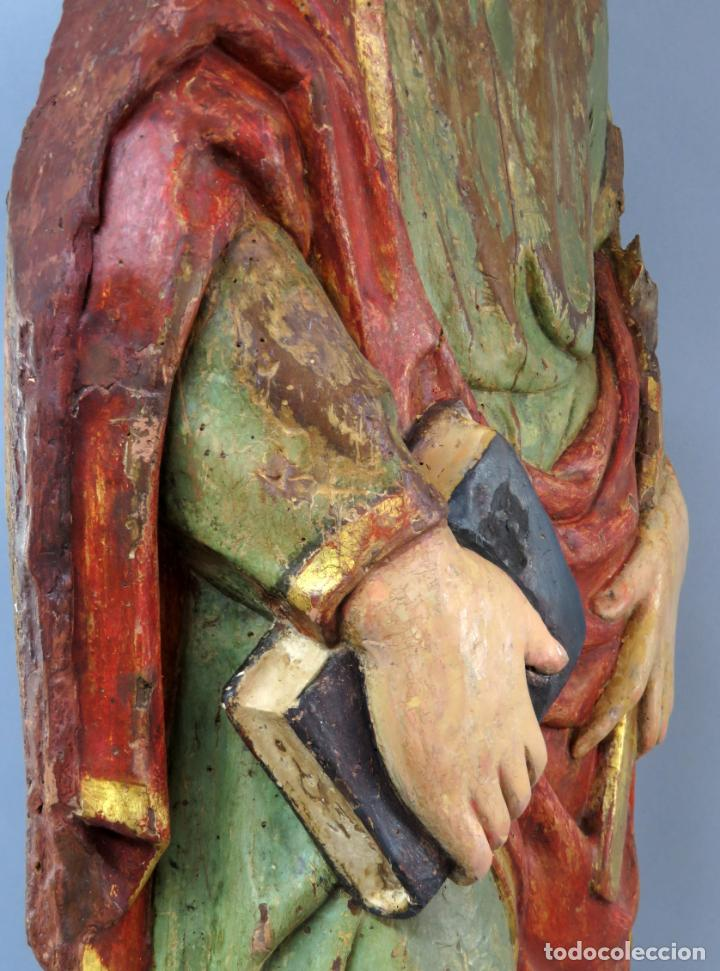Arte: Talla de medio bulto o chuleta San Juan Evangelista madera tallada dorada y policromada XVI XVII - Foto 38 - 221922775