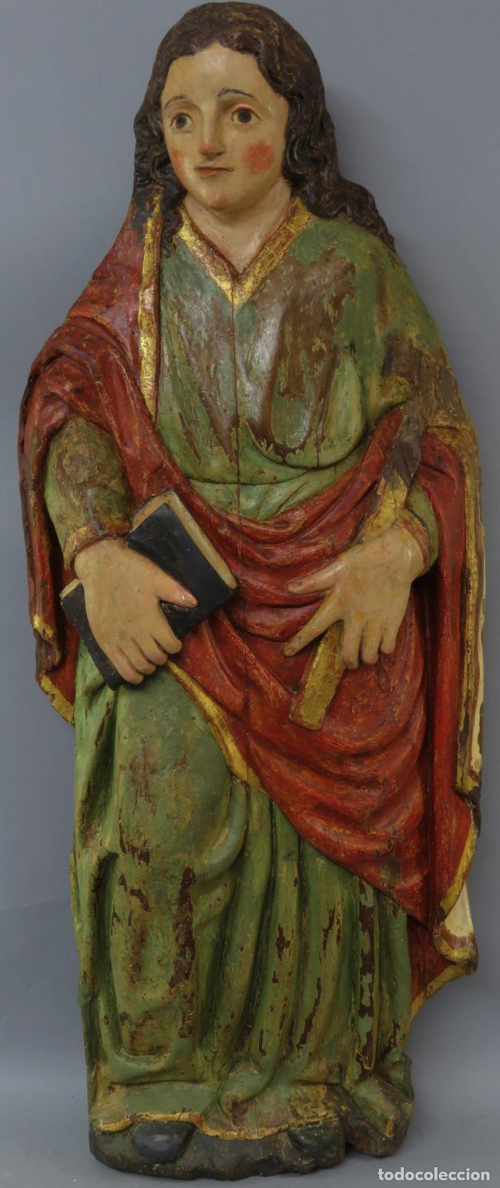 TALLA DE MEDIO BULTO O CHULETA SAN JUAN EVANGELISTA MADERA TALLADA DORADA Y POLICROMADA XVI XVII (Arte - Arte Religioso - Escultura)