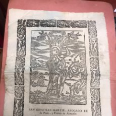 Arte: LÁMINA DE SAN SEBASTIAN MARTIR, ABOGADO DE LA PESTE Y PATRON DE ALMENAR LLEIDA SIGLO XVIII. Lote 221932777