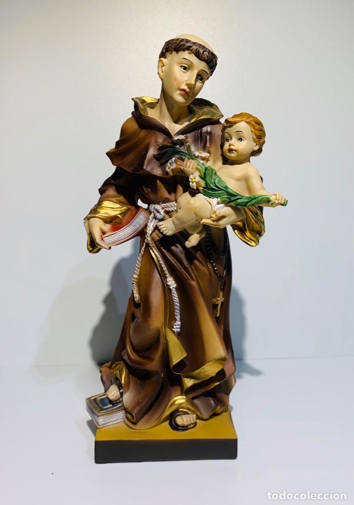 MAGNÍFICA ESCULTURA SAN ANTONIO CON NIÑO. PASTA MADERA, MAGNÍFICA POLICROMÍA. BELLOSO. IMPECABLE. (Arte - Arte Religioso - Escultura)