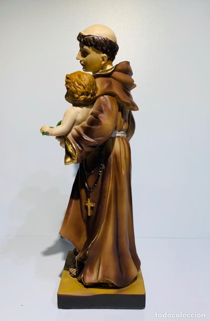 Arte: Magnífica escultura San Antonio con Niño. Pasta madera, magnífica policromía. Belloso. Impecable. - Foto 3 - 221974451