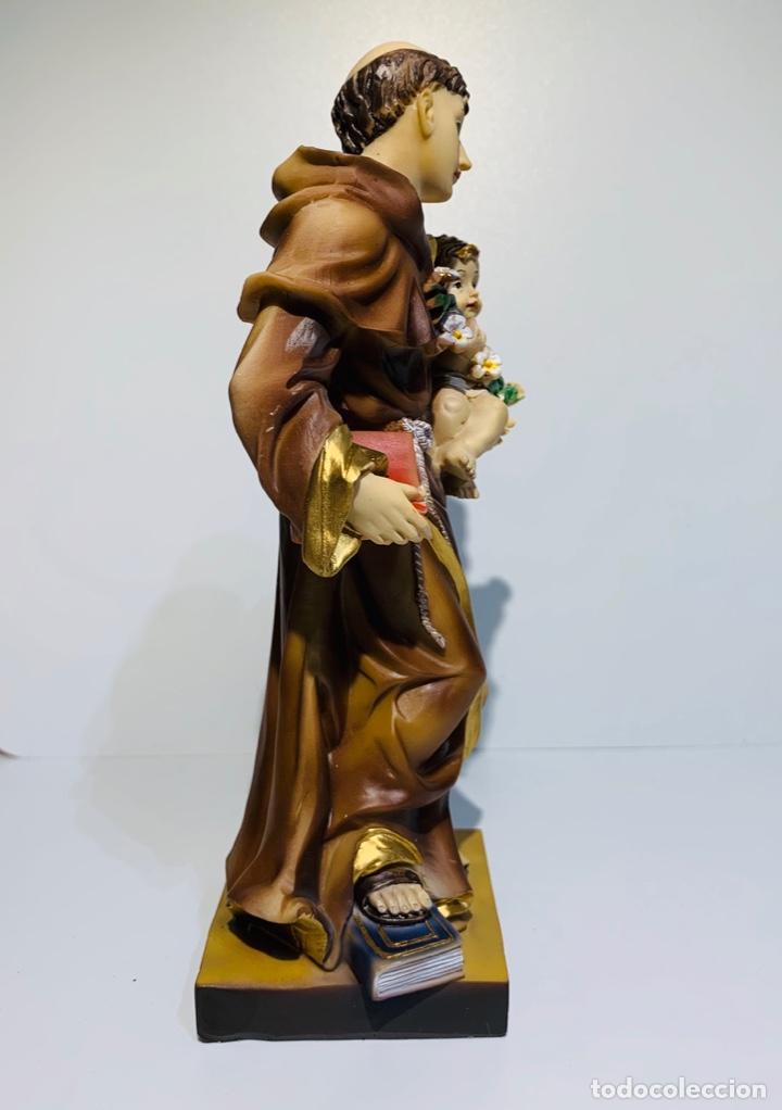 Arte: Magnífica escultura San Antonio con Niño. Pasta madera, magnífica policromía. Belloso. Impecable. - Foto 5 - 221974451