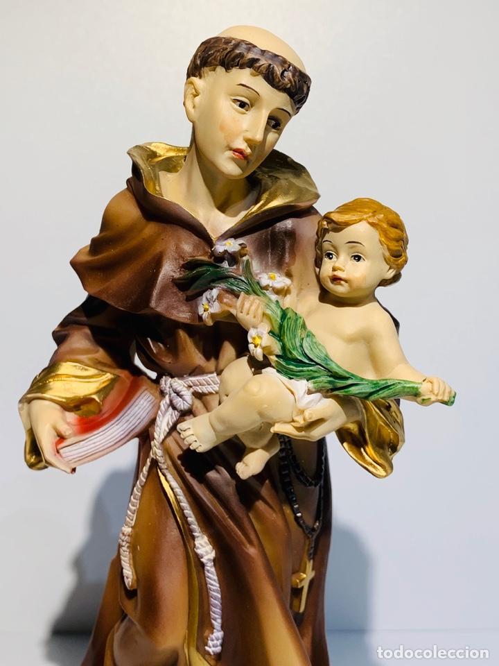 Arte: Magnífica escultura San Antonio con Niño. Pasta madera, magnífica policromía. Belloso. Impecable. - Foto 6 - 221974451