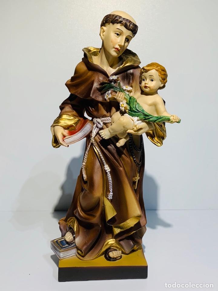 Arte: Magnífica escultura San Antonio con Niño. Pasta madera, magnífica policromía. Belloso. Impecable. - Foto 8 - 221974451