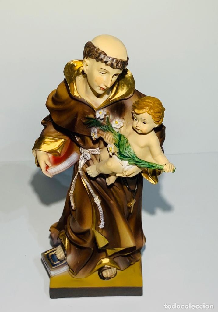 Arte: Magnífica escultura San Antonio con Niño. Pasta madera, magnífica policromía. Belloso. Impecable. - Foto 11 - 221974451