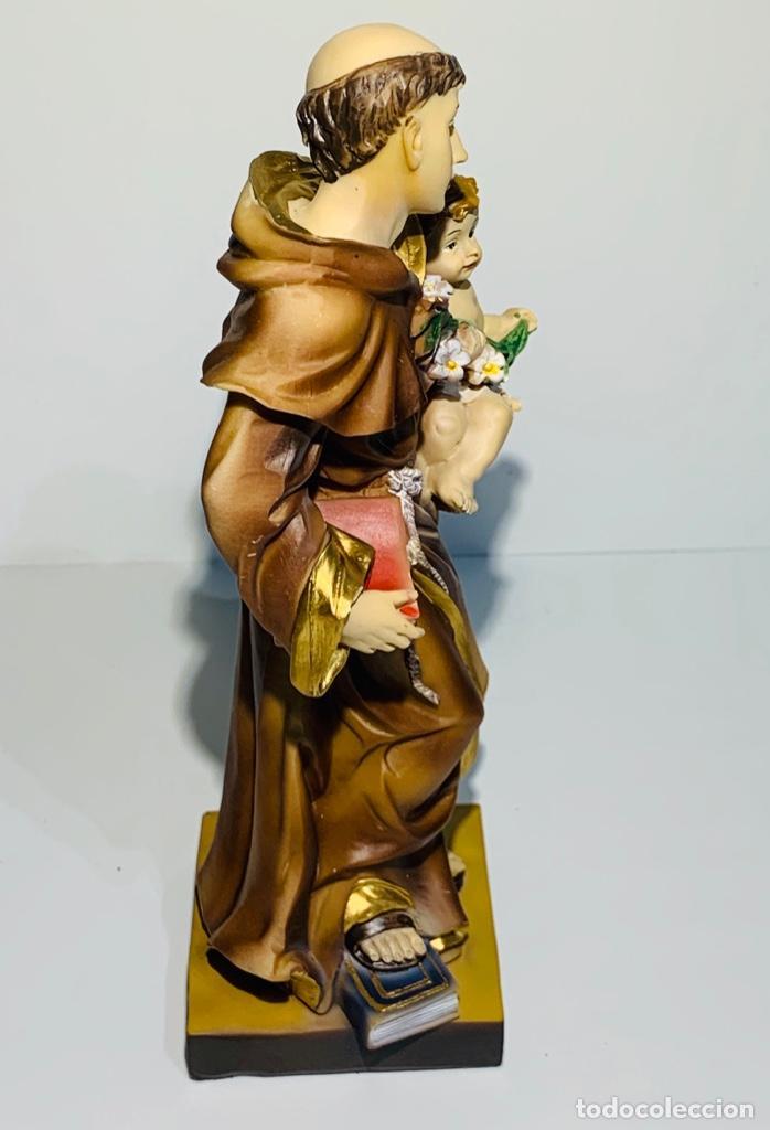 Arte: Magnífica escultura San Antonio con Niño. Pasta madera, magnífica policromía. Belloso. Impecable. - Foto 13 - 221974451