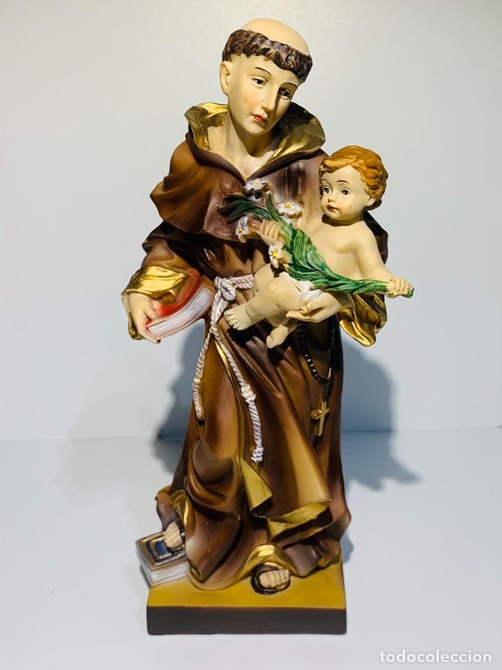 Arte: Magnífica escultura San Antonio con Niño. Pasta madera, magnífica policromía. Belloso. Impecable. - Foto 16 - 221974451
