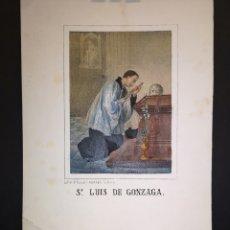 Art: SN. LUIS DE GONZAGA - GRABADO LITOGRAFICO - MEDIADOS SIGLO XIX - 16 X 21 CM. Lote 222008291