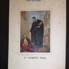 Art: SN. VICENTE PAUL - GRABADO LITOGRAFICO - MEDIADOS SIGLO XIX - 16 X 21 CM. Lote 222009476