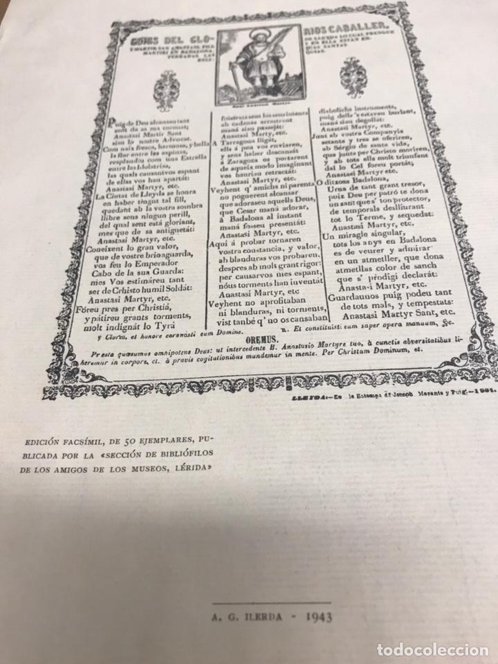 Arte: EDICION FACSIMIL DEL 1891GOIGS DEL GLORIOS SAN ANASTASI FILL DE LLEIDA 50 EJEMPLARES 1943 LERIDA - Foto 2 - 222040675