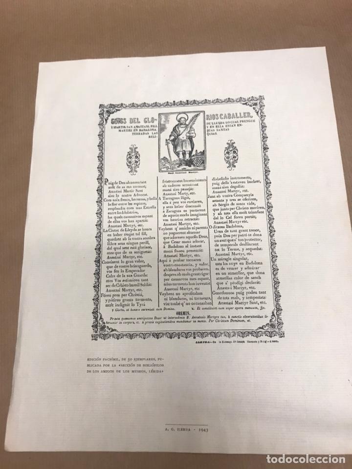 EDICION FACSIMIL DEL 1891GOIGS DEL GLORIOS SAN ANASTASI FILL DE LLEIDA 50 EJEMPLARES 1943 LERIDA (Arte - Arte Religioso - Grabados)