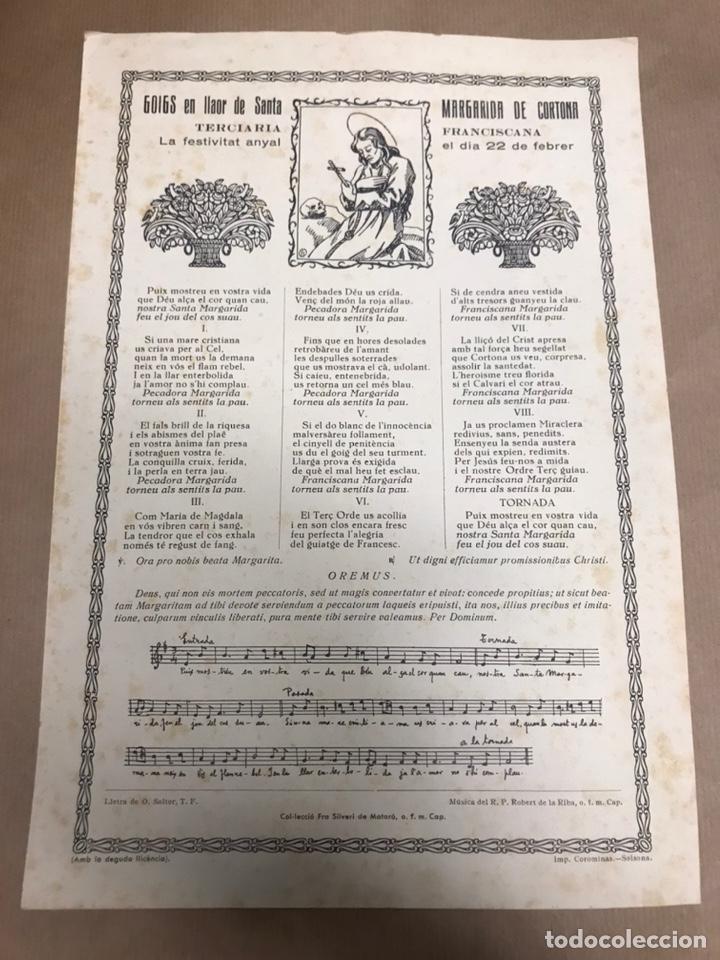 GOIGS EN LLAOR DE SANTA MARGARIDA DE CORTONA TERCIARIA FRANCISCANA IMPRES A SOLSONA LLEIDA (Arte - Arte Religioso - Grabados)