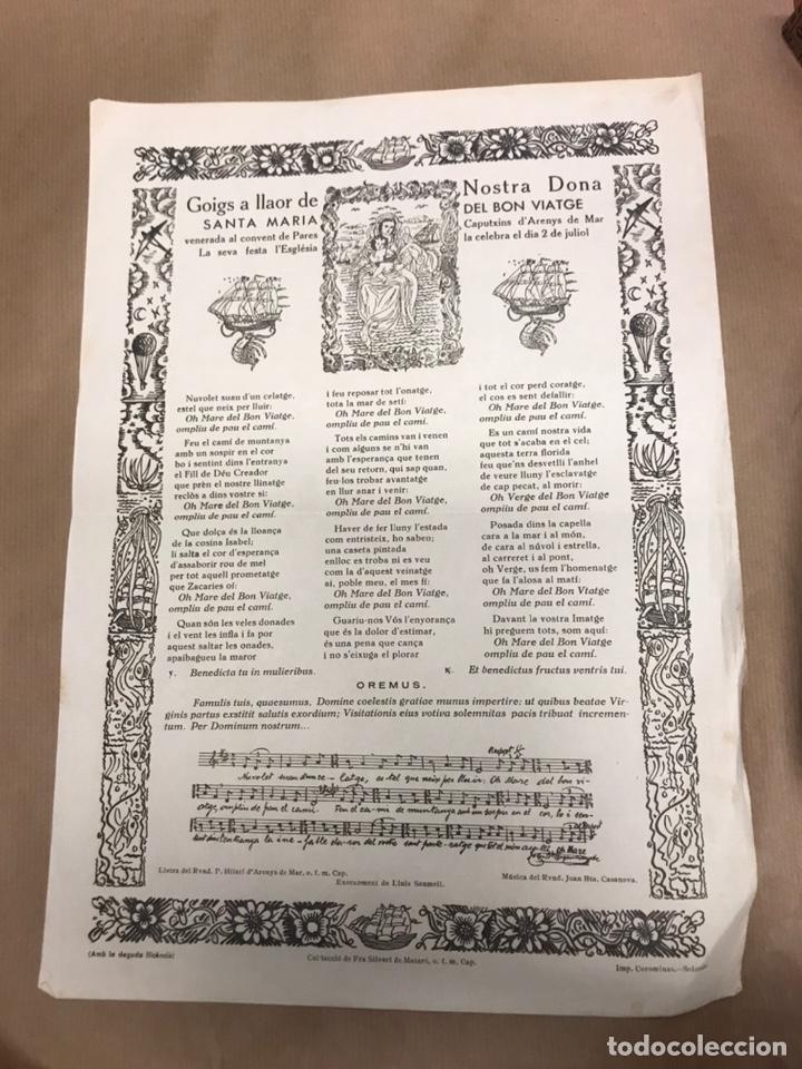 GOIGS A LLAOR DE NOSTRA DONA SANTA MARIA DEL BON VIATGE CONVENT ARENYS DE MAR IMP. SOLSONA (Arte - Arte Religioso - Grabados)