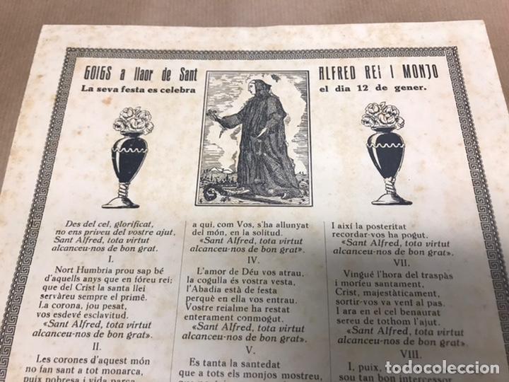 Arte: GOIGS A LLAOR DE SANT ALFRED REI I MONJO IMPRES A SOLSONA LLEIDA - Foto 4 - 222049946