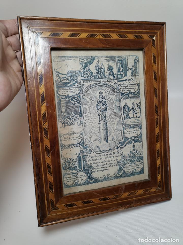 GRABADO ORIGINAL EXVOTO CURACION VIRGEN DEL PILAR SUCEDIO EN CALANDA AÑO 1640-ALCAÑIZ-SIGLO XIX (Arte - Arte Religioso - Grabados)
