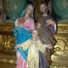 Arte: HAGA SU OFERTA SAGRADA FAMILIA TIPO OLOT OJOS DE CRISTAL - VIRGEN NIÑO JESUS Y SAN JOSE A RESTAURAR. Lote 222074566