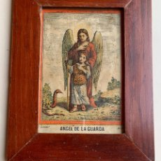 Arte: ANTIGUA IMPRESION COLOREADA .BORONAT MADRID . ANGEL DE LA GUARDA . ENMARCADA .. Lote 222133180