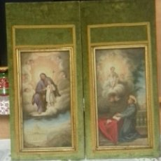 Arte: OLEO SOBRE LIENZO PEGADO A TABLA. 2 OBRAS RELIGIOSAS.. Lote 192754813