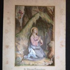 Arte: SANTA IDA DE TOGGENBURG - IDDA - ITHGA - GRABADO ALEMÁN ILUMINADO - SIGLO XIX - 13 X 19 CM. Lote 222327255