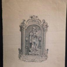 Arte: NUESTRA SEÑORA DEL CARMEN - GRABADO - AÑO 1777- 27 X 36.50 CM - IMAGEN - 21 X 13 CM. Lote 222437712