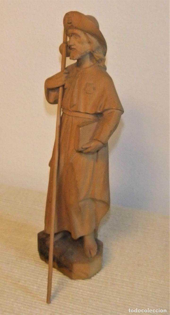 Arte: ANTIGUA TALLA EN MADERA DE BOJ DEL APOSTOL SANTIAGO - Foto 2 - 222463558