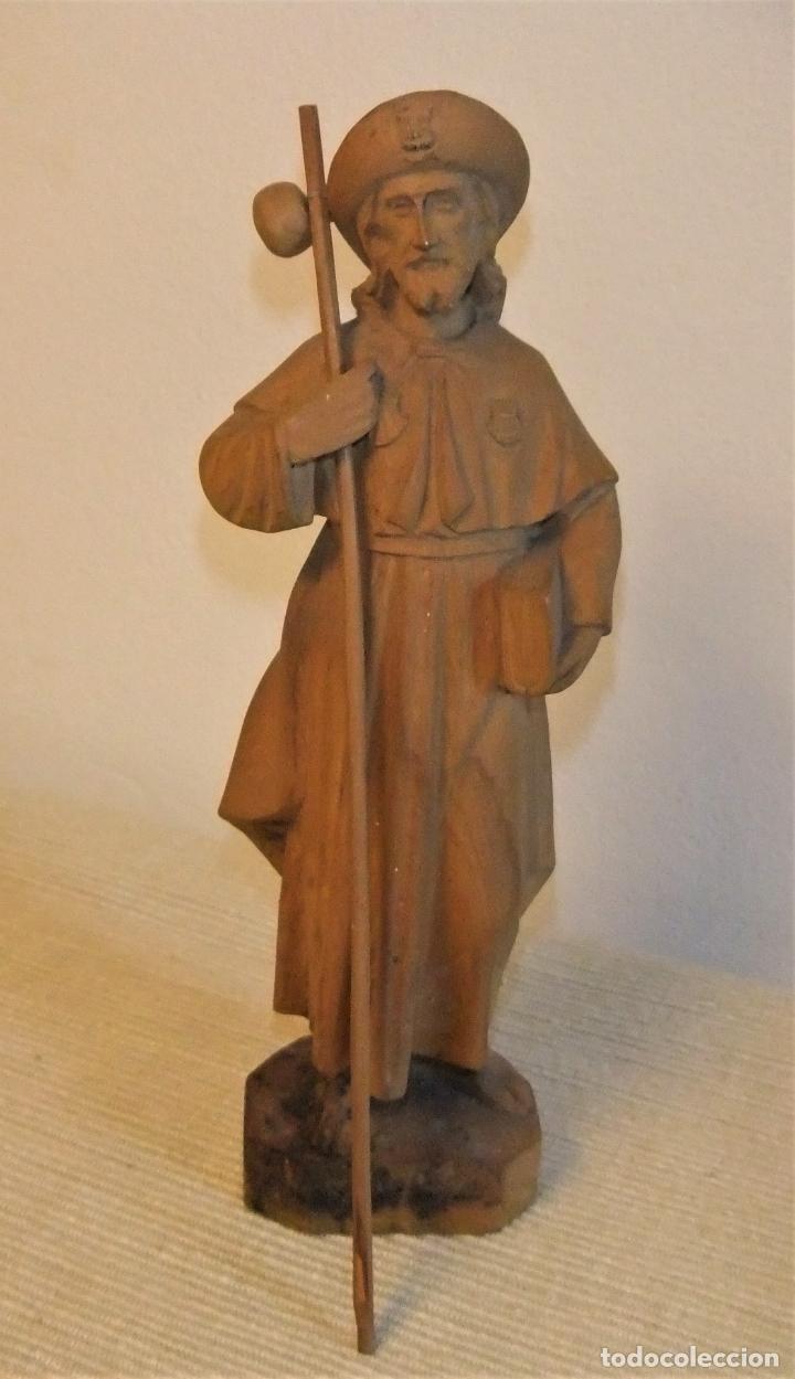 ANTIGUA TALLA EN MADERA DE BOJ DEL APOSTOL SANTIAGO (Arte - Arte Religioso - Escultura)