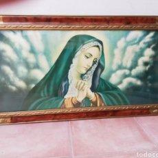 Arte: ANTIGUO MARCO MADERA Y ESTUCO CON LITOGRAFÍA DE LA VIRGEN.. Lote 222486816