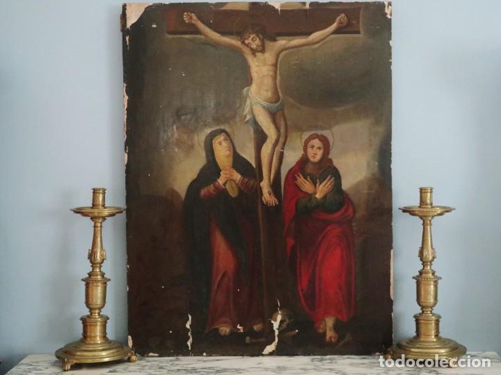 Arte: Tabla de la Crucifixión. Escuela Española del siglo XVII. Medidas de 73 x 54 cm. - Foto 28 - 222506426
