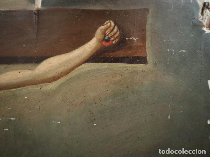 Arte: Tabla de la Crucifixión. Escuela Española del siglo XVII. Medidas de 73 x 54 cm. - Foto 9 - 222506426