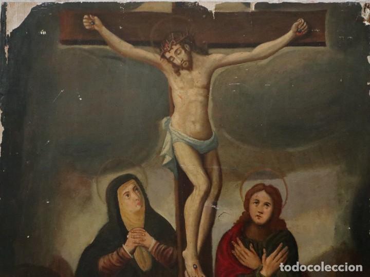 Arte: Tabla de la Crucifixión. Escuela Española del siglo XVII. Medidas de 73 x 54 cm. - Foto 12 - 222506426