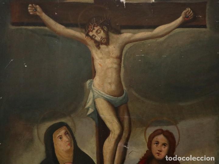 Arte: Tabla de la Crucifixión. Escuela Española del siglo XVII. Medidas de 73 x 54 cm. - Foto 4 - 222506426