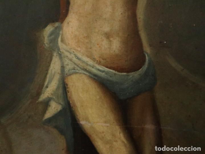 Arte: Tabla de la Crucifixión. Escuela Española del siglo XVII. Medidas de 73 x 54 cm. - Foto 11 - 222506426
