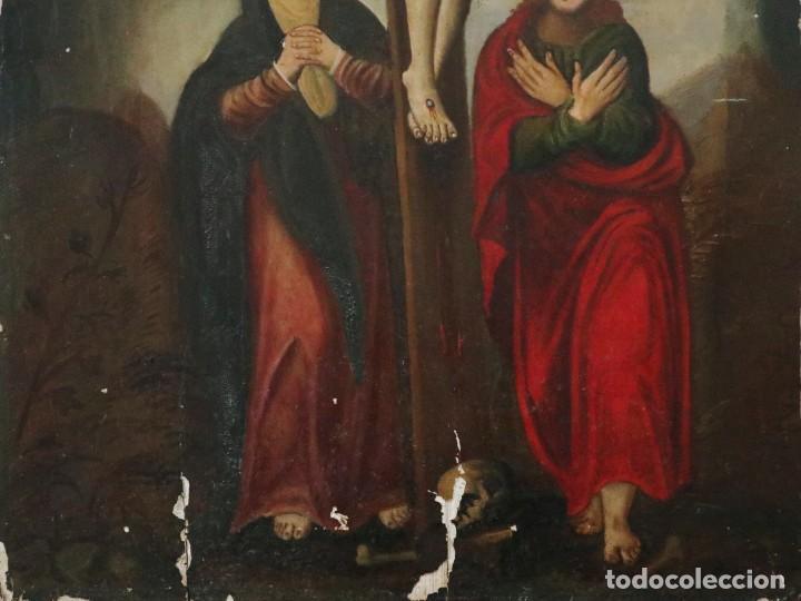 Arte: Tabla de la Crucifixión. Escuela Española del siglo XVII. Medidas de 73 x 54 cm. - Foto 14 - 222506426