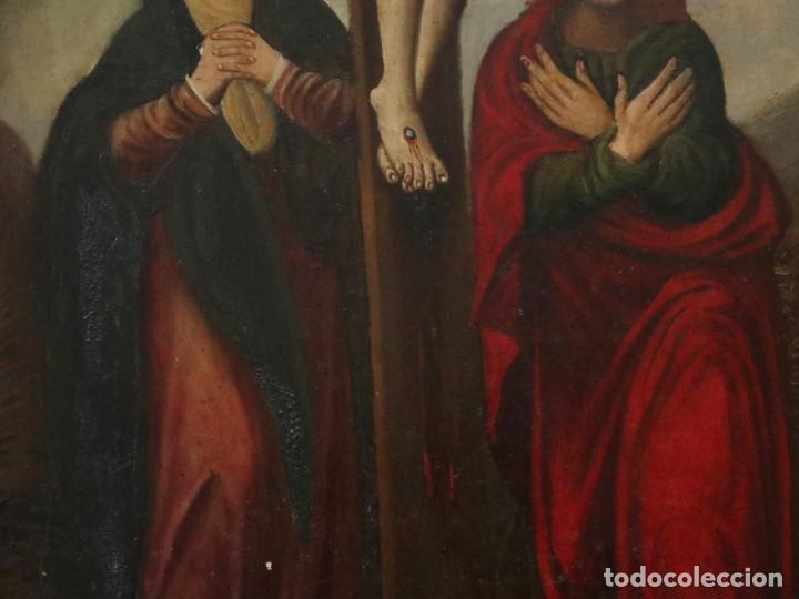 Arte: Tabla de la Crucifixión. Escuela Española del siglo XVII. Medidas de 73 x 54 cm. - Foto 15 - 222506426