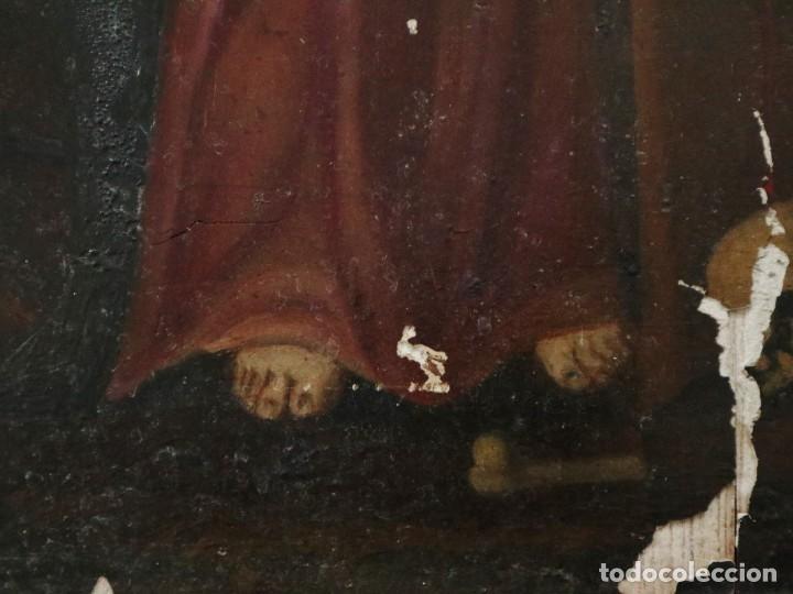 Arte: Tabla de la Crucifixión. Escuela Española del siglo XVII. Medidas de 73 x 54 cm. - Foto 17 - 222506426